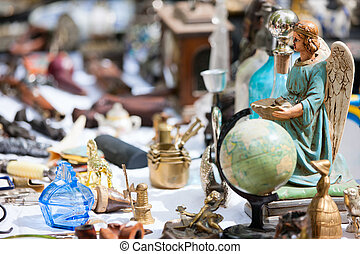 Close up details of flea market stall in Bruges, Belgium