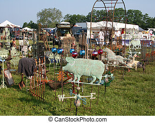 Items on display at an Outdoor flea market