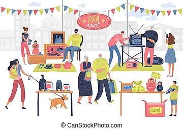 Flea market. People on fashionable shopping second hand retro goods clothes swap meet bazaar. Shoppers on fleas market vector concept