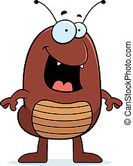 A happy cartoon flea standing and smiling.
