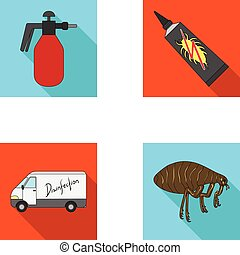 Flea, special car and equipment flat icons in set collection for design. Pest Control Service vector symbol stock web illustration.