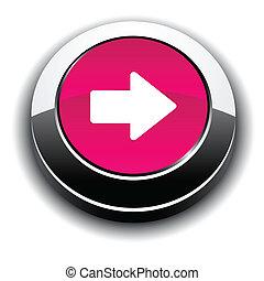 flecha, 3d, redondo, button.