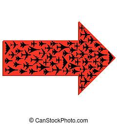 flecha, aviones, interior., vector., direccional