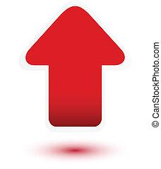 flecha, blanco, arriba, rojo