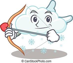 flecha, carácter, nube, alas, caricatura, nevoso, cupido