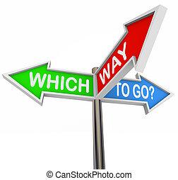 flecha, colorido, -, 3, manera, señales, ir