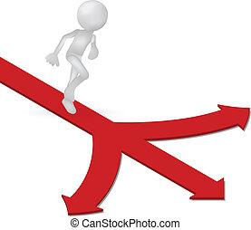 flecha direção, maneiras, executando, human, 3d
