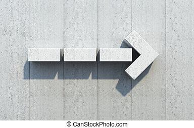 flecha direção, mostrar