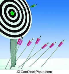 flecha, en, blanco, actuación, eficiencia