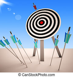 flecha, en, blanco, actuación, exitoso, tiro