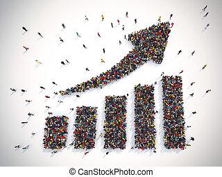 flecha, estadísticas, personas., 3d, interpretación