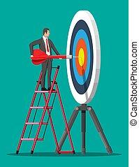 flecha, hombre de negocios, stepladder, target., puntería