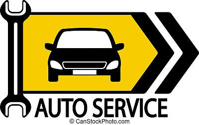 flecha, llave inglesa, coche, señal