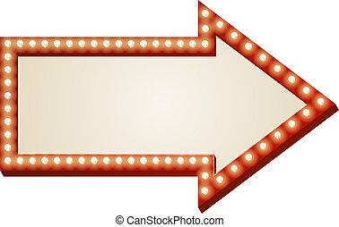 flecha, luces, señal