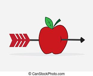 flecha, manzana