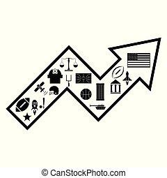 flecha, norteamericano, concepto