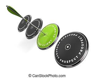 flecha, palabra, blanco, él, tres, golpear, escrito, unos, verde, cliente, plano de fondo, negro, blanco, centro, perspectiva