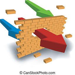 flecha, pared, perforación