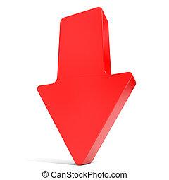 flecha roja, abajo.
