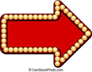 flecha roja, con, bombillas