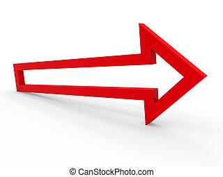 flecha, rojo, manera, 3d
