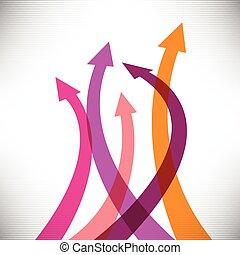 flechas, éxito, plano de fondo, creativo