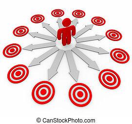 flechas, apuntar, muchos, -, oportunidades, hombre