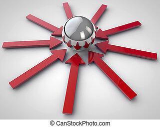 flechas, brillante, rojo, esferas