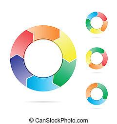 flechas, círculo, flujo