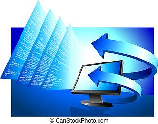 flechas, computadora, financiero, monitor, plano de fondo