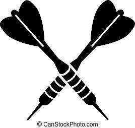 flechas, dardos, cruzado, dardo