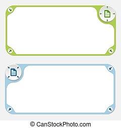 flechas, dos, vector, marcos, documento, icono