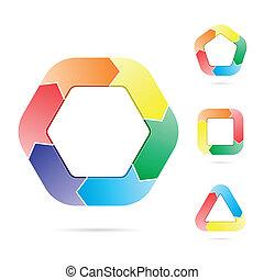 flechas, en un círculo, flujo