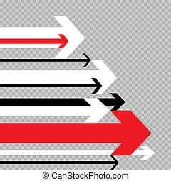 flechas, movimiento, a, éxito, transparente