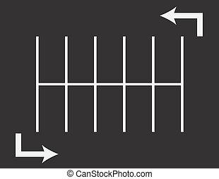 flechas, terreno, estacionamiento