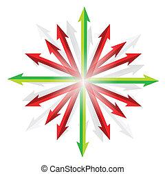 flechas, yendo, en, diferente, destinaciones