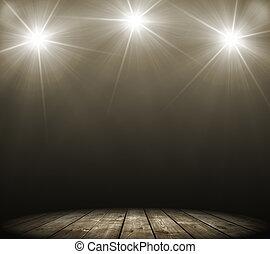 fleck, beleuchtung, drei, buehne