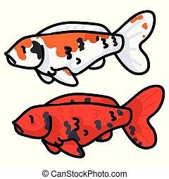 fleckig, illustration., koi, art., reizend, leben, fische, orange, vektor, dekorativ, teich, klammer
