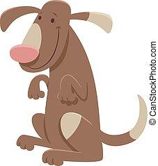 fleckig, lustiges, zeichen, hund, karikatur