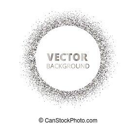fleckig, umrandungen, funkeln, festlicher, silber, hintergrund., vektor, white., diamanten, kreis, glitzer, staub, frame.