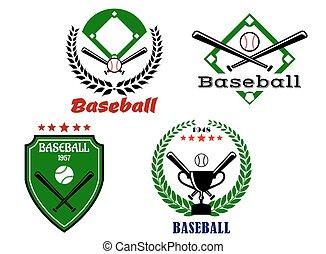 fledermäuse, embleme, baseball, gekreuzt