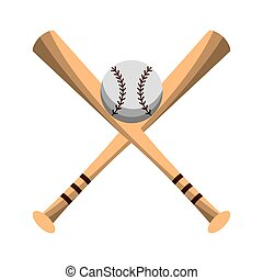 fledermäuse, symbol, kugel, gekreuzt, baseball