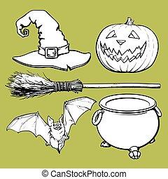 fledermaus, caldron, besen, halloween, -, accessoirs, o, hut, laterne, hexe, wagenheber