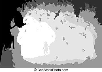 fledermaus, höhle