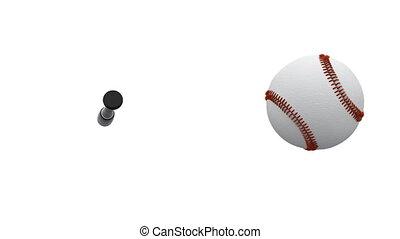 fledermaus, langsam, schlägt, bewegung, baseball ball