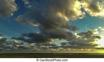 fleeing the storm clouds. timelaps - running over the steppe...