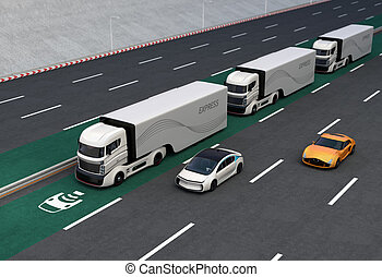 Fleet of autonomous hybrid trucks