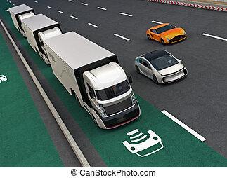 Fleet of autonomous hybrid trucks