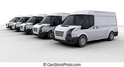 3D render of a fleet of delivery vans