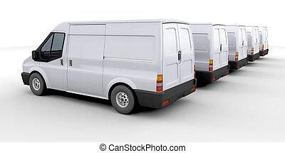 Fleet of delivery vans - 3D render of a fleet of delivery ...
